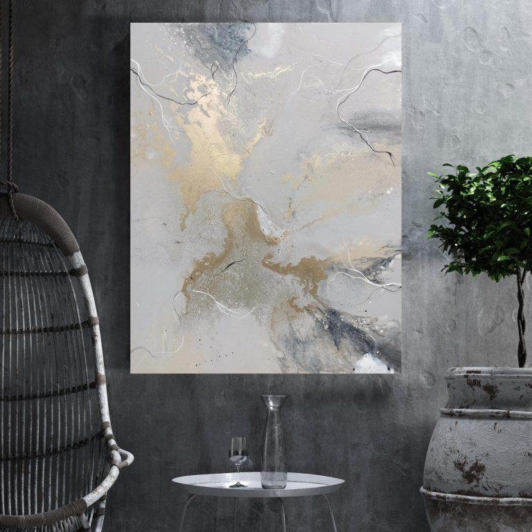 Abstrakt maleri, natur inspireret maleri, maleri mellemstørrelse, maleri i stue.